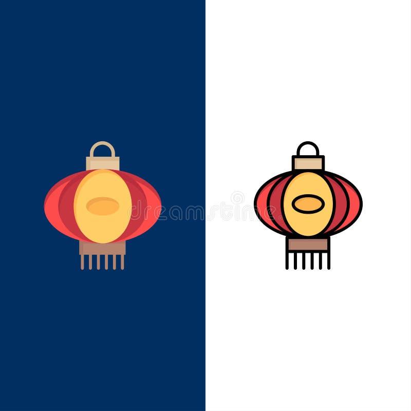 Lanterne, lumière, Chine, icônes chinoises L'appartement et la ligne icône remplie ont placé le fond bleu de vecteur illustration de vecteur
