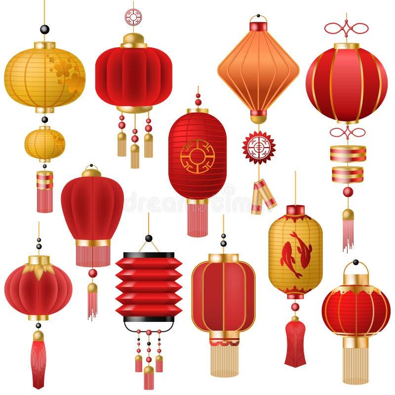 Lanterne-lumière rouge traditionnelle de vecteur chinois de lanterne et décoration orientale de culture de porcelaine pour la cél illustration de vecteur
