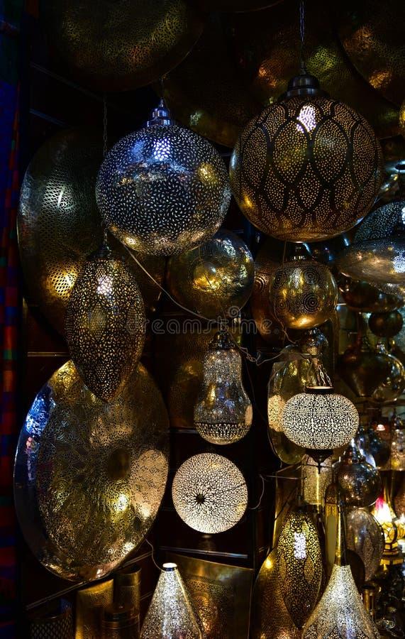 Lanterne marocchine, vista di notte immagine stock