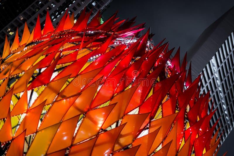 Lanterne orange géante dans le festival de Mi-automne en Hong Kong images stock