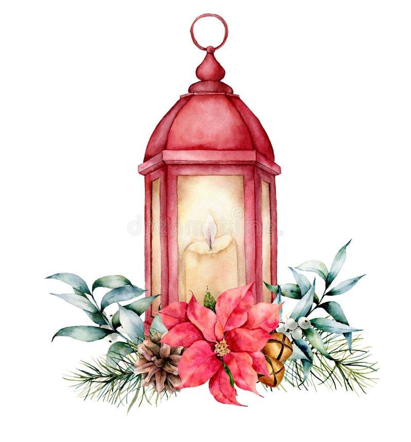 Lanterne rouge d'aquarelle avec le décor de Noël Lampe peinte à la main, bougie, branche de sapin, poinsettia, cloches d'or, cône illustration de vecteur