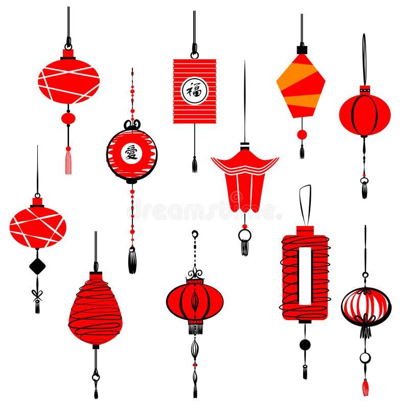 Lanterne rouge de style chinois décoratif de calibre Englis d'hiéroglyphe illustration libre de droits