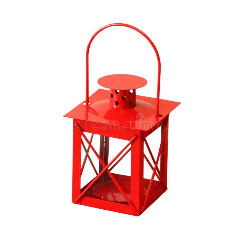 Lanterne rouge de vintage d'isolement sur le blanc image stock