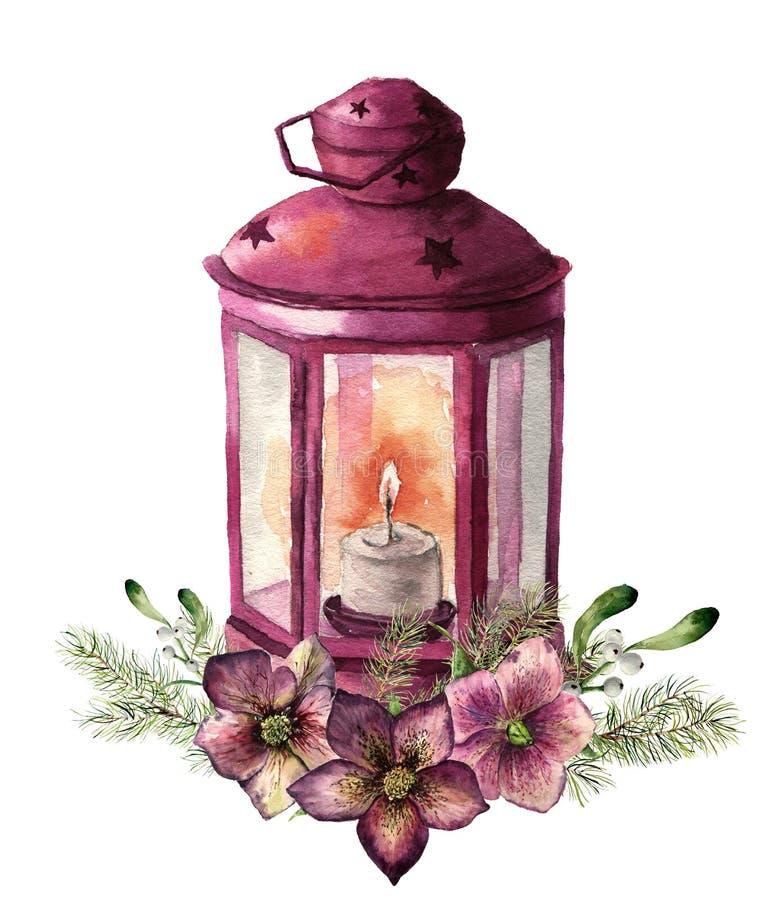 Lanterne traditionnelle de Noël d'aquarelle avec le décor floral Lanterne rouge peinte à la main avec la branche de sapin, fleur  illustration libre de droits