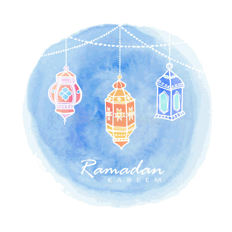 Lanternes arabes tirées par la main, fond d'aquarelle, Ramadan illustration stock