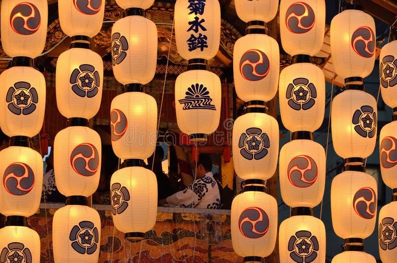 Lanternes de matsuri de Gion en été, Kyoto Japon images stock