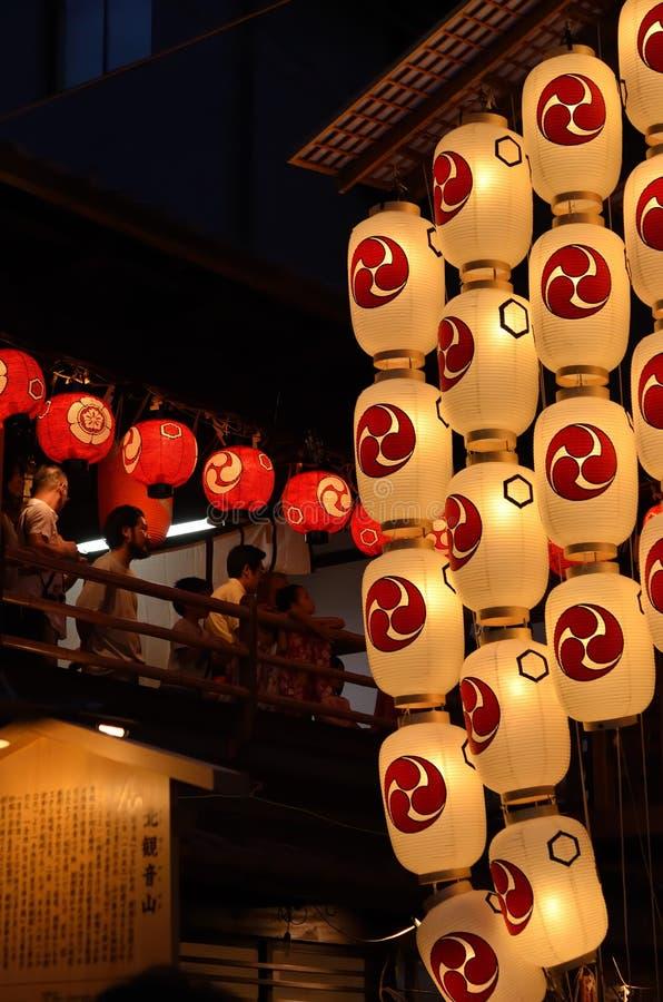 Lanternes de nuit de festival de Gion, Kyoto Japon image stock