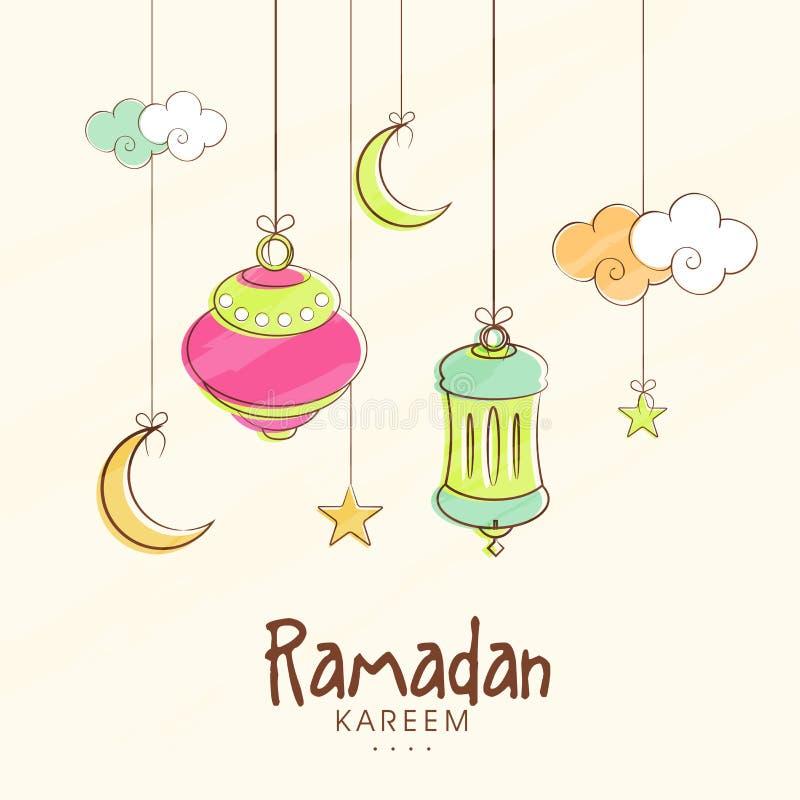 Lanternes, lunes et étoiles accrochantes pour Ramadan Kareem illustration stock