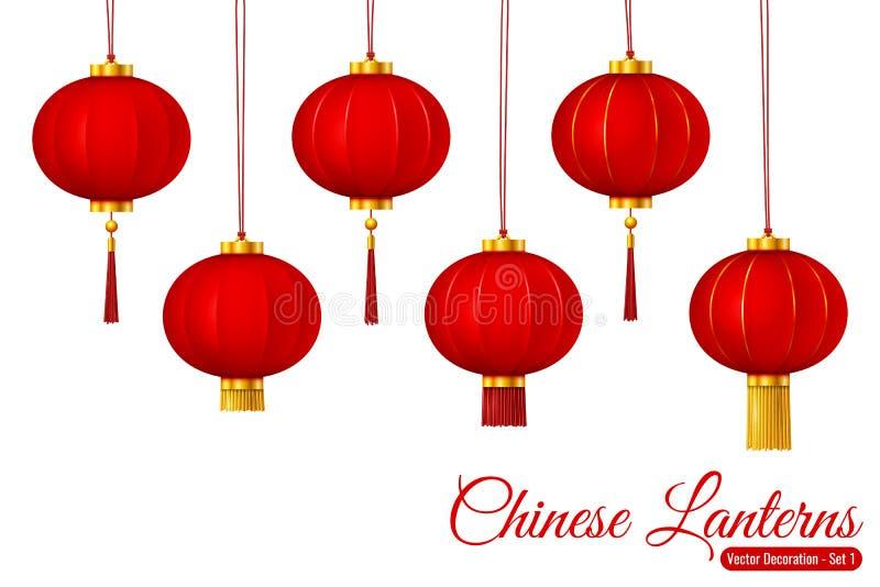 Lanternes rouges accrochantes traditionnelles chinoises de vecteur illustration de vecteur
