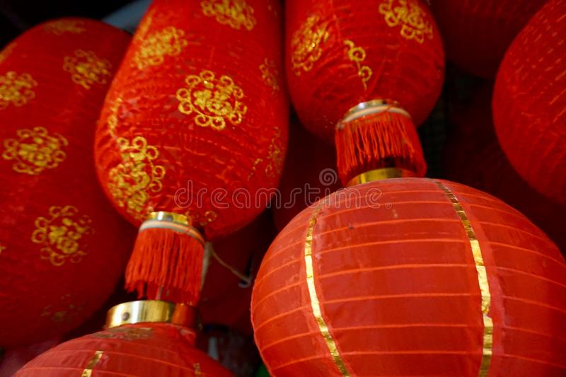 Lanternes rouges chinoises photographie stock