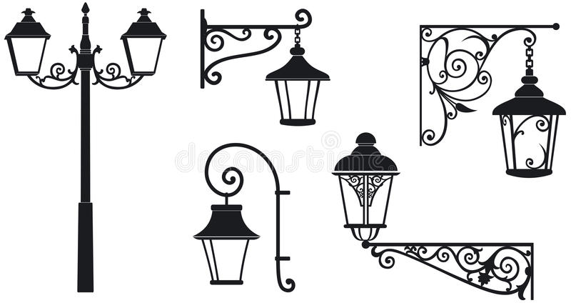 Lanternes travaillées de fer avec les ornements décoratifs illustration libre de droits