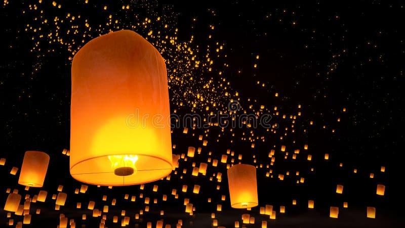 Lanternes volant en ciel nocturne image stock