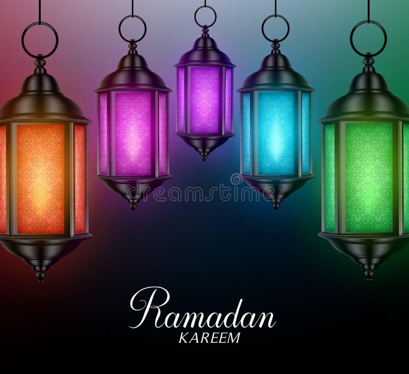 Lanterns Background in Colorful Glowing Lights with Ramadan Kareem royalty free illustration