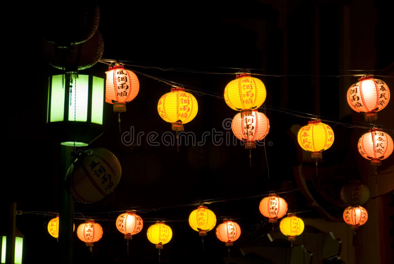 Lanterns in Chinatown stock photo