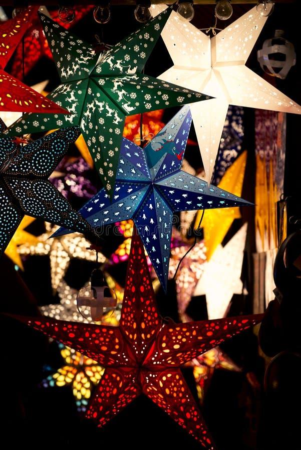Lanterns on christmas market stock images