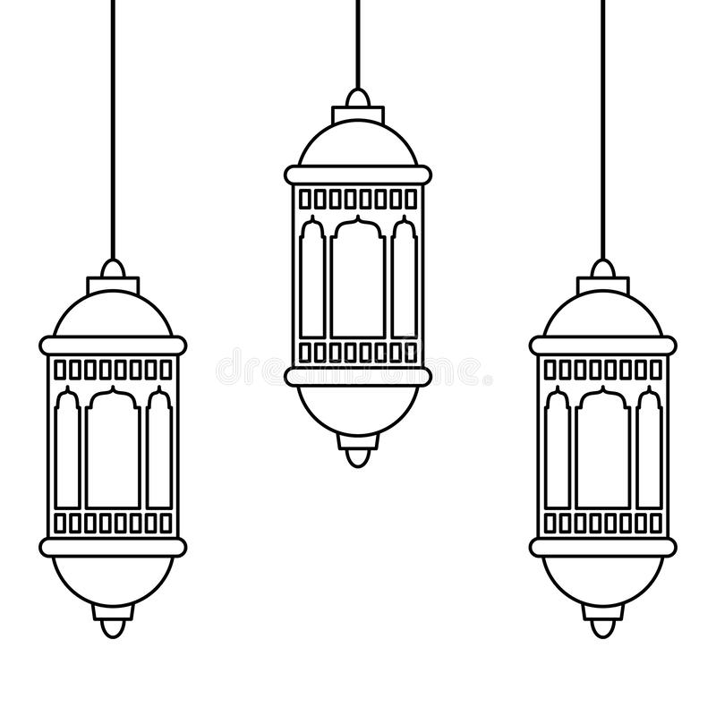 Lanterns Decoration Festival Lamps Cartoon In Black And White Stock Vector Illustration Of Oriental Ramadan 155768874