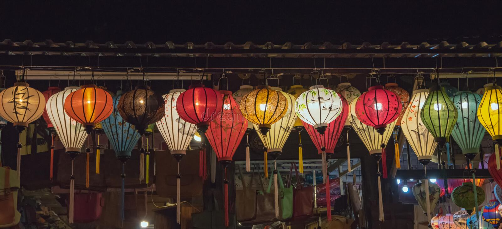 Lanterns, fine arts and handicraft in Hoi An old town, Vietnam. This region is the world`s cultural heritage, held UNESCO part 4. Lanterns, fine arts and royalty free stock image