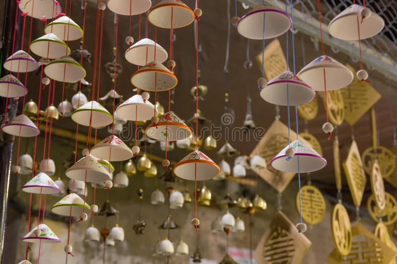 Lanterns, fine arts and handicraft in Hoi An old town, Vietnam. This region is the world`s cultural heritage, held UNESCO. It is p. Reserved and maintained stock photo