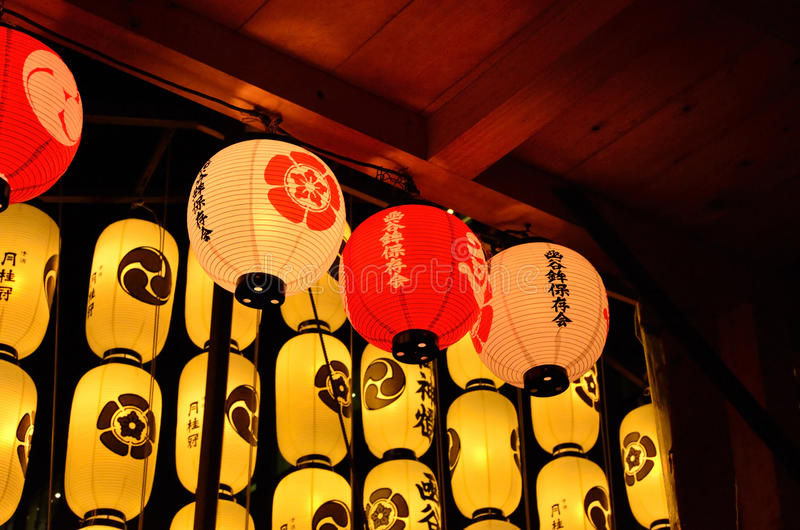 Lanterns of Gion festival in Japan royalty free stock images