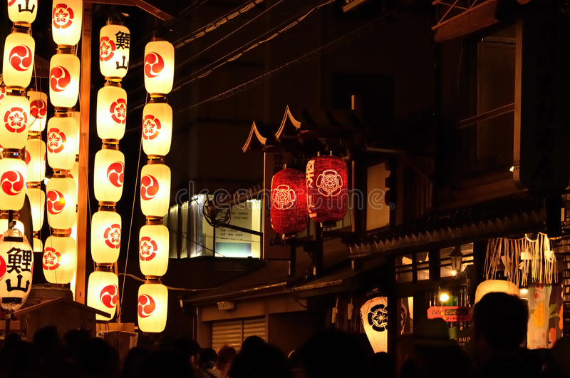 Lanterns of Gion matsuri in summer, Kyoto Japan. royalty free stock photos