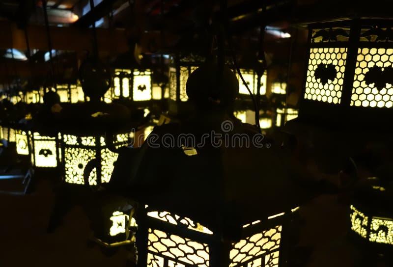 Lanterns lighting in the dark, Kasuga-Taisha Shrine, Nara, Japan stock photos