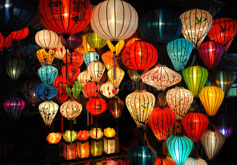Lanterns at market in Hoi An royalty free stock photography