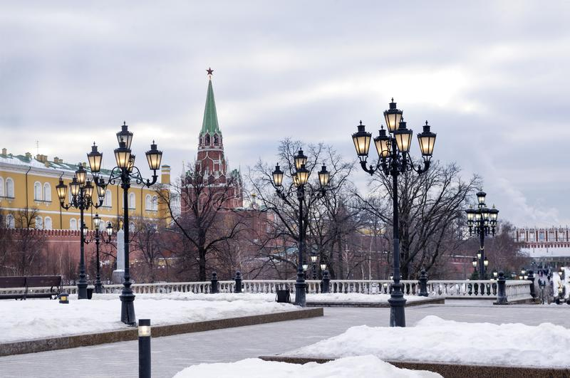 Lanterns near the Kremlin wall, Moscow in winter stock photography