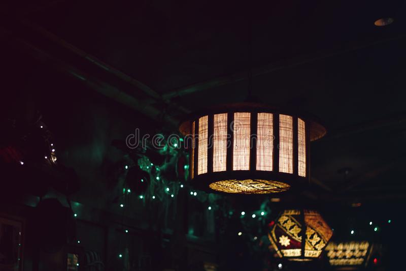 Lanterns at night stock image