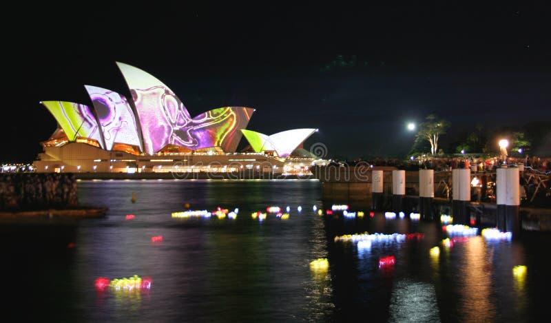 Lanterns and Sydney Opera House, Australia royalty free stock image