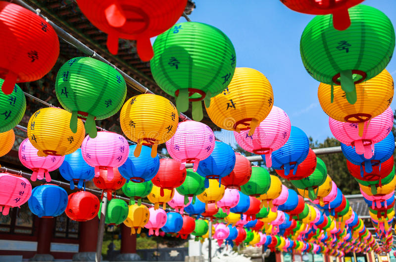 Lanterns of Yakcheosa Temple in Jeju Island, Korea. This is Yakcheosa Temple in Jeju Island, Korea. The architectural style of Yakcheonsa Temple is reminiscent stock photography