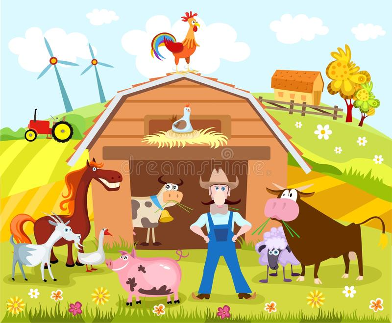 lantgård vektor illustrationer