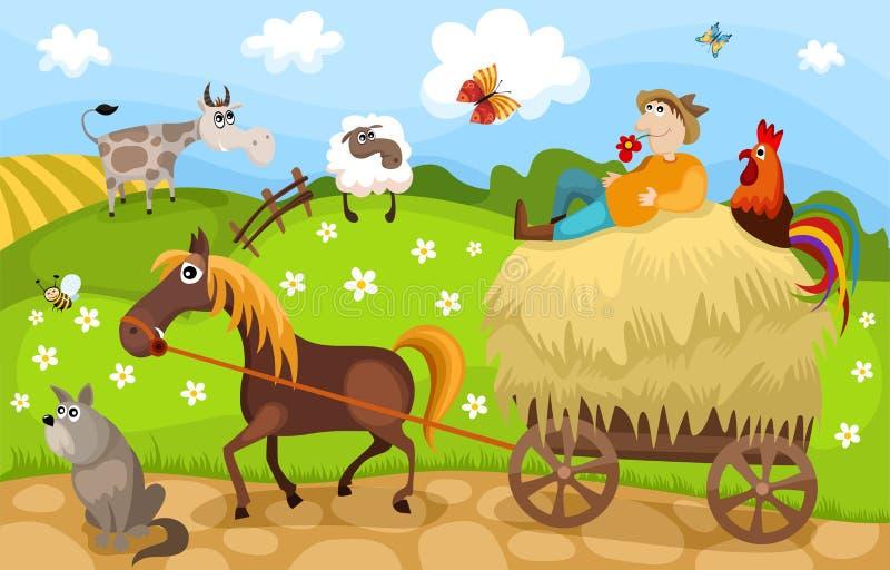 lantgård royaltyfri illustrationer