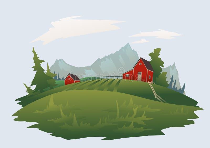 Lantgård eller ranch i det alpina landskapet för berg Isolerad vektorillustration stock illustrationer