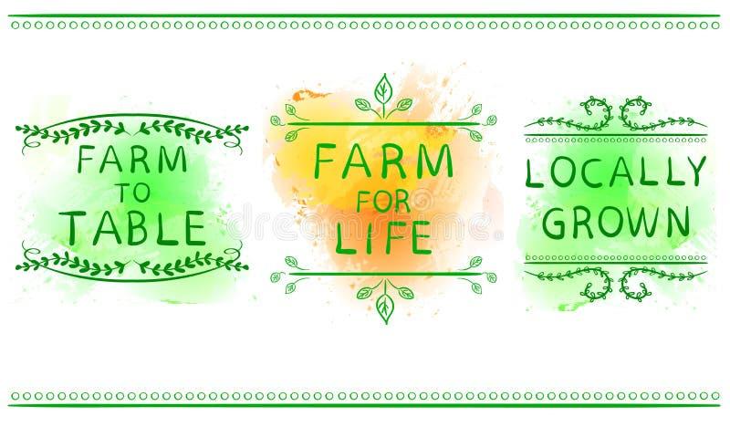 LANTGÅRD FÖR LIV, LANTGÅRD SOM SKA BORDLÄGGAS, LOKALT SOM ÄR FULLVUXET Hand dragen typografisk beståndsdel på grön målarfärgfärgs vektor illustrationer