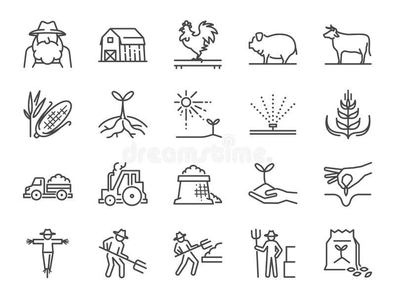 Lantgård och åkerbruk linje symbolsuppsättning Inklusive symbolerna som bonde, odling, växt, skörd, boskap, nötkreatur, lantgård, royaltyfri illustrationer