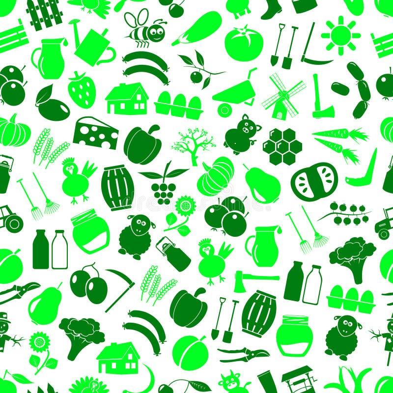 Lantgård och bruka den sömlösa gröna modellen eps10 för stora enkla färgsymboler royaltyfri illustrationer