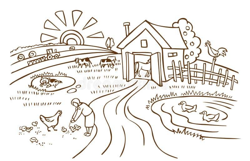 Lantgård- och jordbrukillustration stock illustrationer