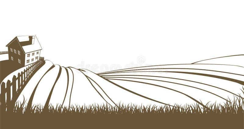Lantgård och Rolling Hills stock illustrationer