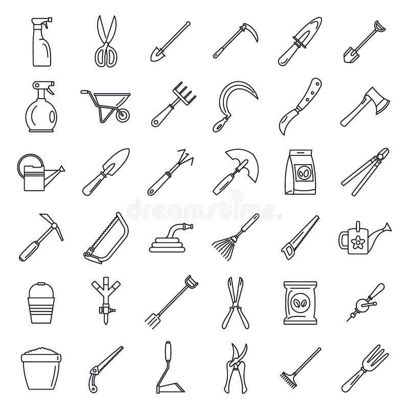 Lantgård som arbeta i trädgården hjälpmedelsymbolsuppsättningen, översiktsstil vektor illustrationer