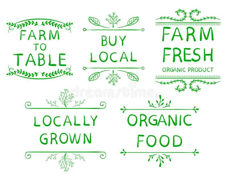`-Lantgård som lokalt bordlägger ` för organisk mat för ` för ` för ` för ` för lokal för ` för `-`-köp lantgård för ` ny fullvux royaltyfri illustrationer