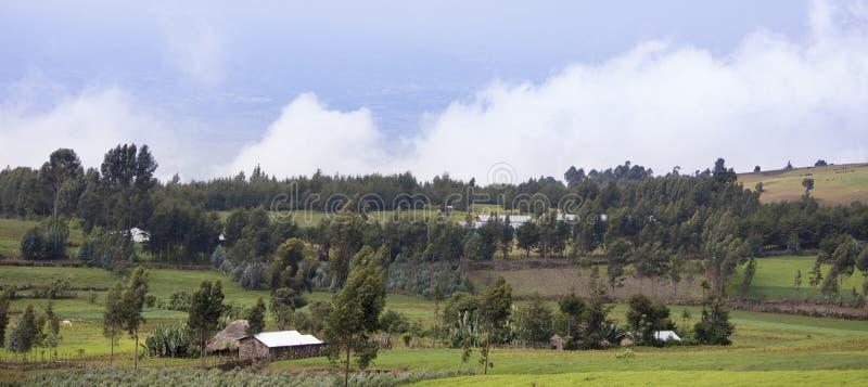 Lantgårdar i de avlägsna bergen av Etiopien arkivbilder