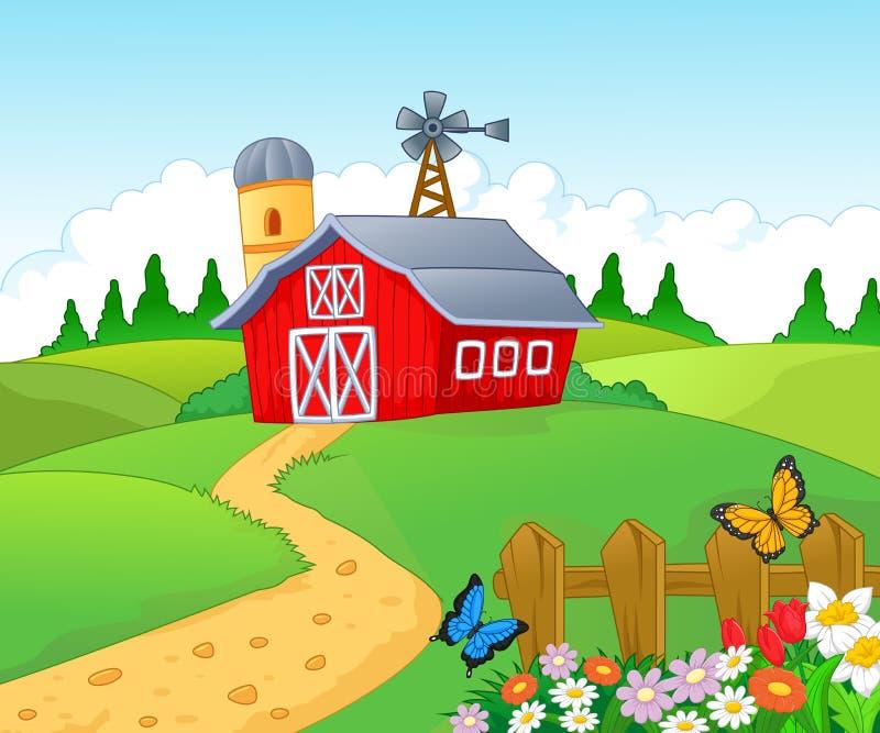 Lantgårdbakgrund stock illustrationer
