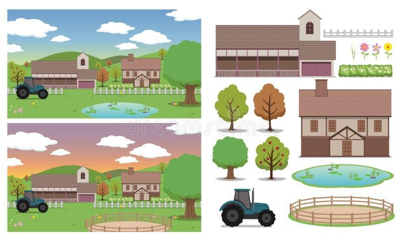 Lantgårdbakgrund vektor illustrationer