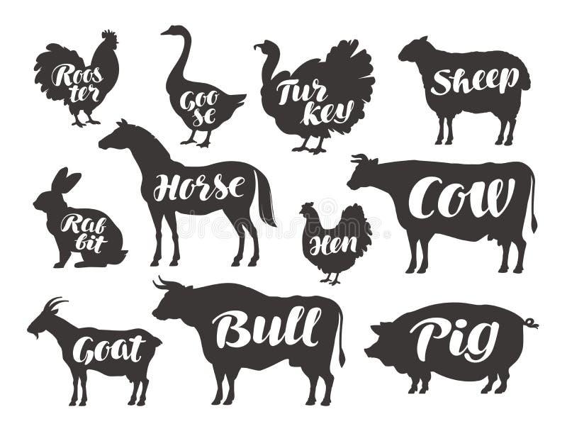 Lantgårddjur, fastställda symboler för vektor Samling av konturer vektor illustrationer