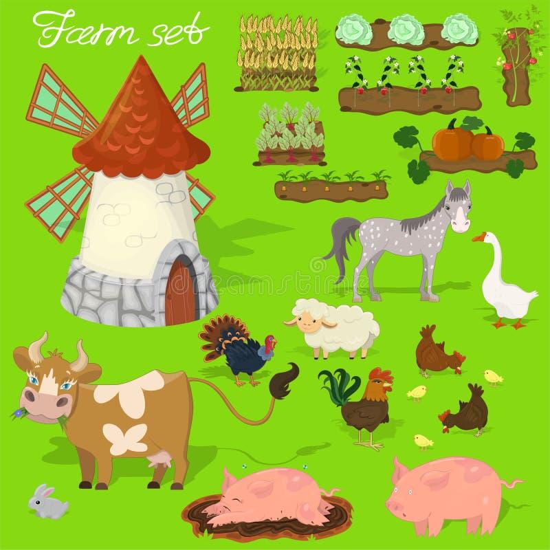 Lantgårddjur - ko, svin, får, häst, tupp, höna, kalkon, höna, gås, kanin Agraculture och att mala Gullig tecknad film in vektor illustrationer