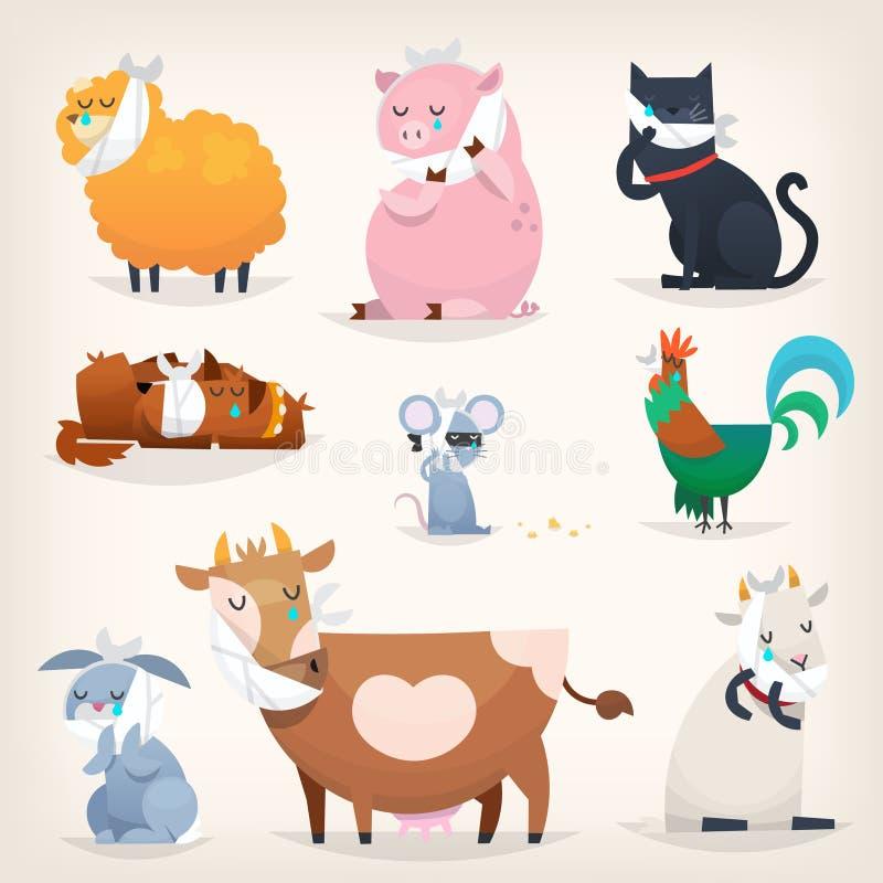 Lantgårddjur med sjuka tänder vektor illustrationer