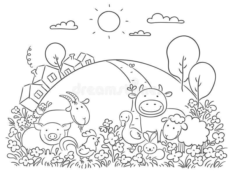 Lantgårddjur och den gröna kullen vektor illustrationer