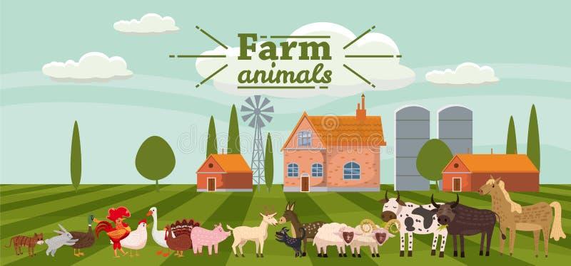 Lantgårddjur och fåglar ställde in i moderiktig gullig stil, inklusive häst, kon, åsnan, fåret, geten, svinet, kanin, anden, gås royaltyfri illustrationer