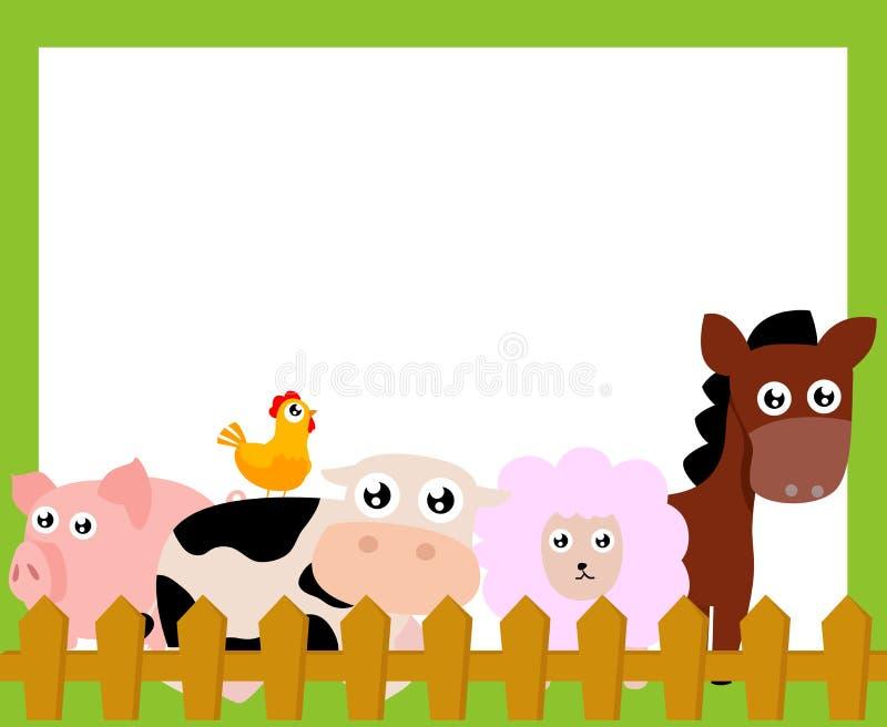 Lantgårddjur och ram stock illustrationer