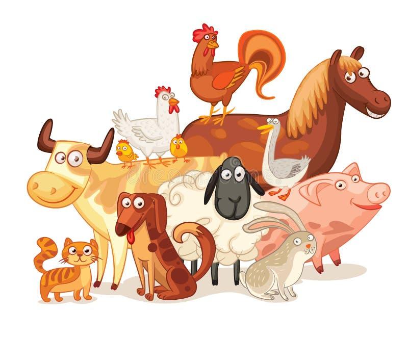 Lantgårddjur som tillsammans poserar vektor illustrationer